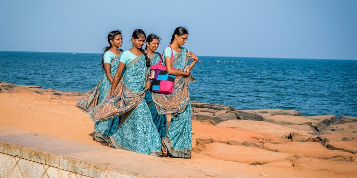 Girls Walking by in Puducherry