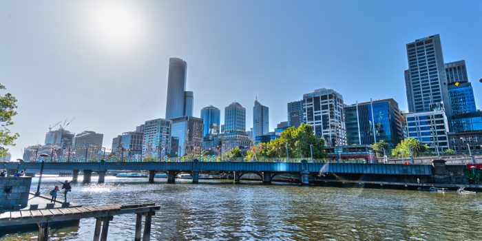 Melbournes Skyline from the South Wharf
